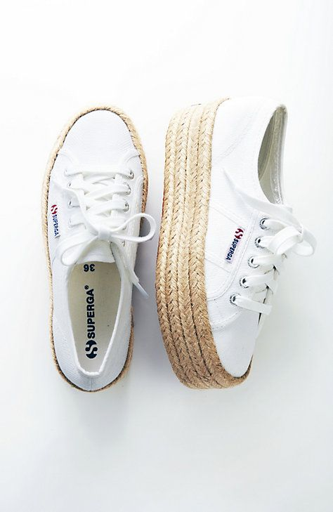 Superga® raffia-wrapped platform sneakers