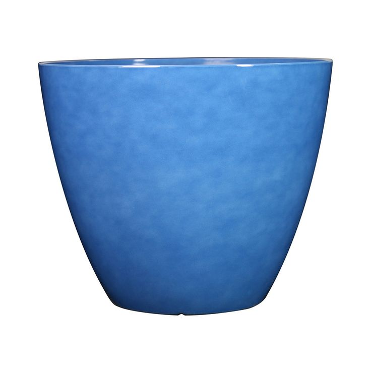 allen + roth 16.46-in x 14.37-in Blue Resin Planter