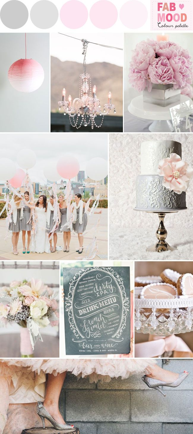 Grey Pink Wedding Colors Palette Ideas | http://fabmood.com/grey-pink-wedding-board/