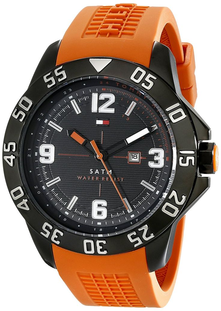 Tommy Hilfiger Men's 1790985 Cool Sport Black Ion-Plated Watch with Orange Silicone Band * For more information, visit image link.