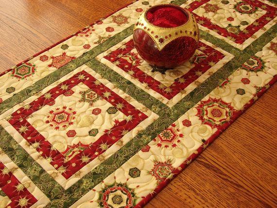 Elegant Christmas Table Runner Quilt in Red Green by susiquilts