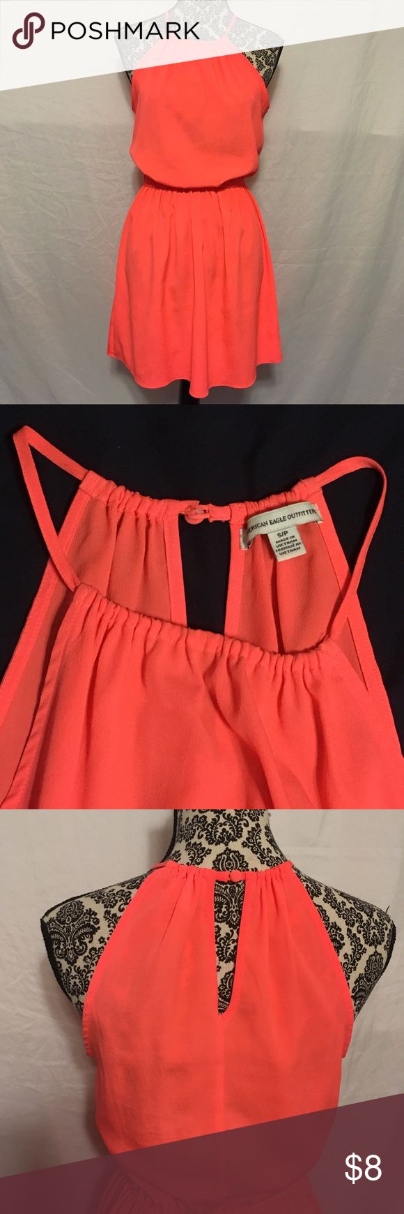 American Eagle Cinched Waist Coral Sundress In perfect condition! Coral in color *Bundle & Save - shipped within 24 hours American Eagle Outfitters Dresses Mini