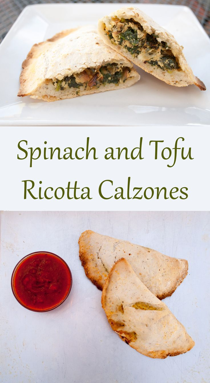 Spinach and Tofu Ricotta Calzones (vegan, gluten free) - Want to change up pizza night? How about these vegan calzones!