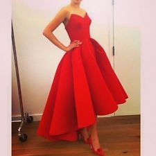 Red Strapless High- Low Dress  Formal Evening Party Ball Dresses Prom Gowns