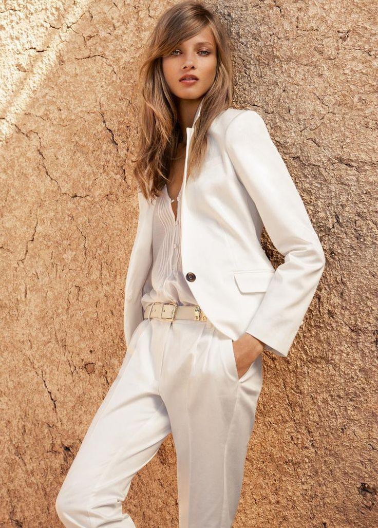 All white Menswear look - feminine and lovely