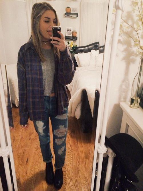 christie's closet tartan shirt cropped tshirt ripped boyfriend jeans black boots