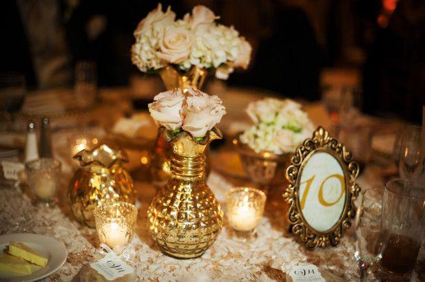 Glamorous blush and gold wedding decor (Photo by Limelight Photography)