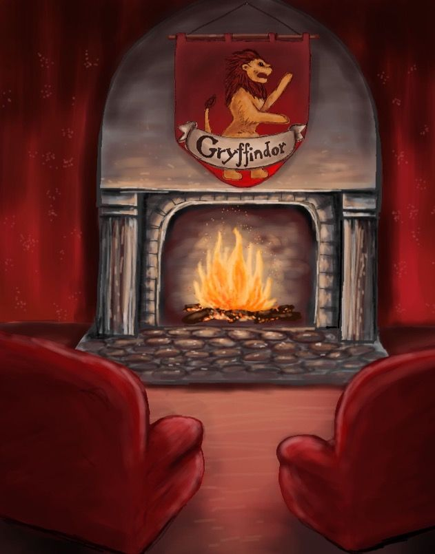 Gryffindor common room, digital art, digital drawing, hogwarts, Harry Potter, hermione granger, Ron Weasley, school houses, gryffindor fireplace