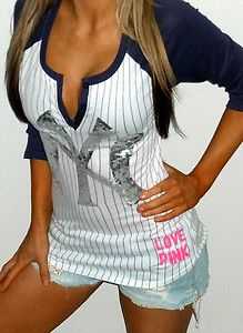 -SECRET-PiNK-NEW-YORK-YANKEES-SEXY-BLiNG-BASEBALL-JERSEY-TEE-SHiRT  94499da55ef