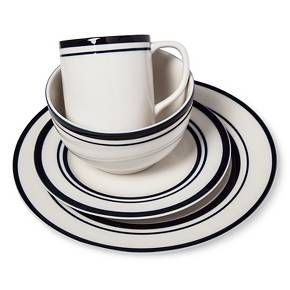 Love these, from Target! Cabot Stoneware Dinnerware Set 16pc White with Blue Rim from Threshold. This blue striped dinnerware provides service for four.