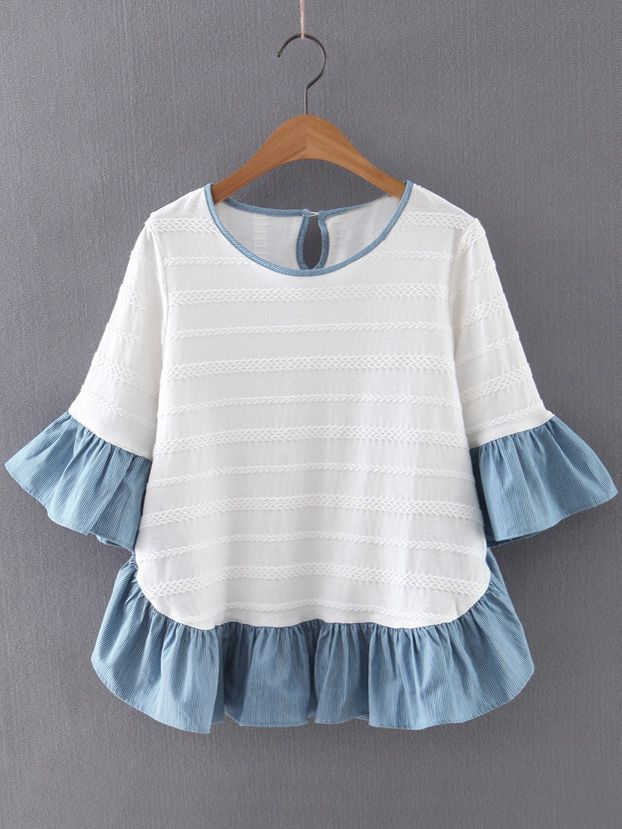 Multicolor+Ruffle+Bell+Sleeve+Knit+Jacquard+Blouse+30.00