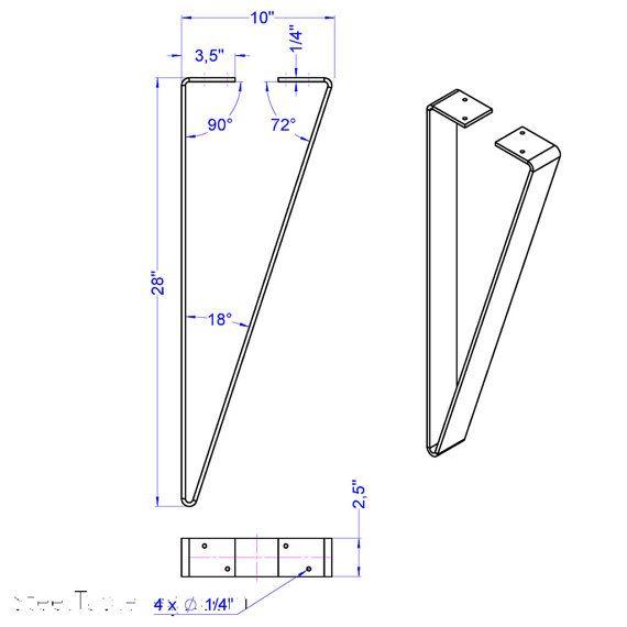 The «Flat Pin» Metal Table Leg – Dining Height/Bar Height/Coffee Height – 1 SINGLE LEG