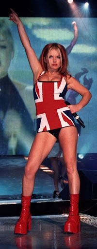 Geri Halliwell in Union Jack flag