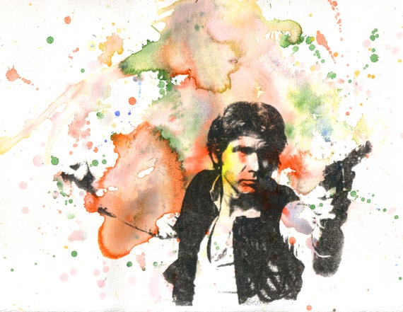 Star Wars Han Solo Space Cowboy Watercolor Painting  by idillard, $10.00