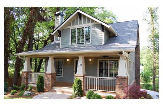 if you use your imagination, this could be the closest. STYLE = Craftsman Bungalow recessed covered porches with square columns, overhanging eaves, decorative brackets, and exposed rafters.