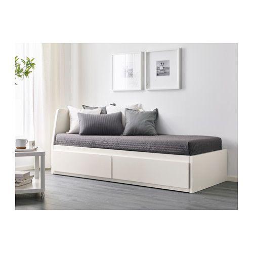 FLEKKE Tagesbett/2 Schubladen/2 Matratzen, weiß, Moshult fest weiß/Moshult fest 80x200 cm