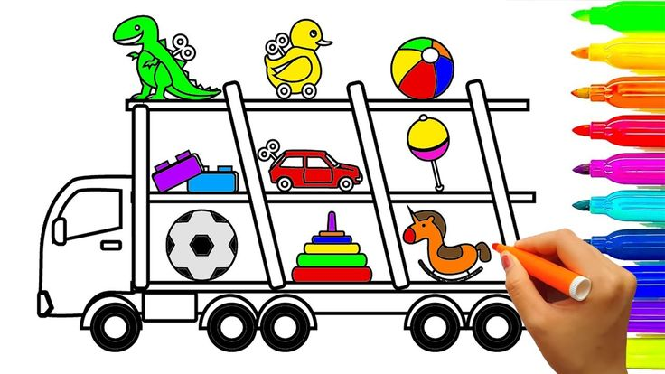 Learn Colors with Car, Truck and Toys Collection Coloring Pages, Fun Col...