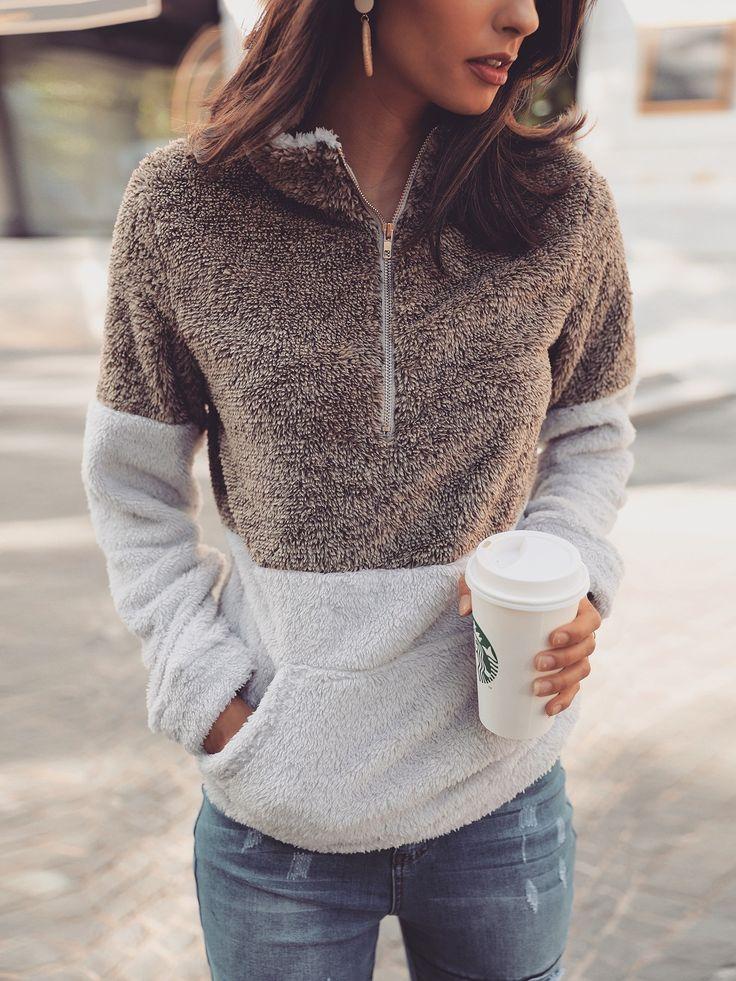 Shop Contrast Color Quarter Zip Teddy Sweatshirt – Discover sexy women fashion... 1