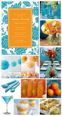 Buffet Magia Festas: Inspiração - Casamento azul turquesa e laranja