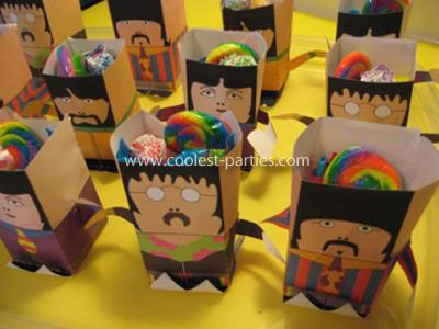 Beatles Favor Bags: Last summer, for my son Leo's 3rd Birthday, he asked for a Beatles Yellow Submarine Party. He was crazy obsessed with the movie, their music, our Beatles