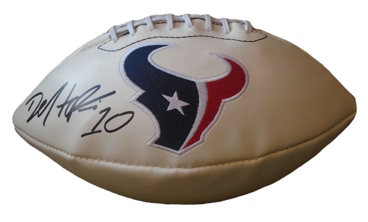 DeAndre Hopkins Autographed Houston Texans Logo White Panel Football, Proof Photo. This is a brand-new DeAndre Hopkins signed Houston Texans logo white panel football.  DeAndre signed the football in black sharpie. Check out the photo of DeAndre signing for us. ** Proof photo is included for free with purchase. Please click on images to enlarge. Please browse our website for additional NFL & NCAA football autographed collectibles. 1 Notable Career Accomplishments:    2015 AFC Pro Bowl…