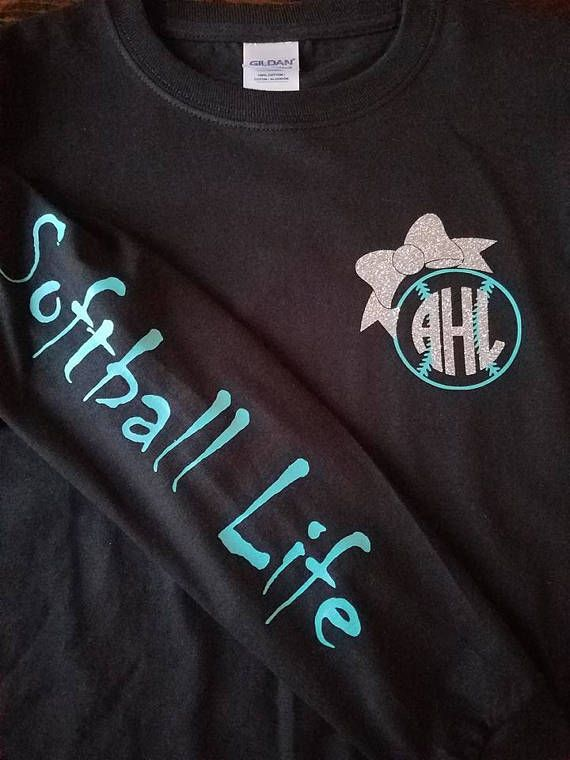 2d98512ed Long Sleeve Softball Life Shirt. Please leave the color of your monogram at  checkout. Monogram order FIRST LAST MIDDLE