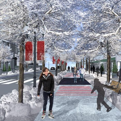 A seven-mile-long skating rink proposed for the Canadian city of Edmonton could allow commuters to ice skate or toboggan to work.