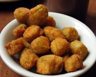 Fried Okra - one of my guilty pleasures. Southern momma = hard to resist!