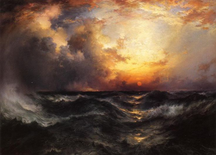Sunset in Mid Ocean,  Thomas Moran. American Hudson River School Painter, born in English (1837 - 1926)