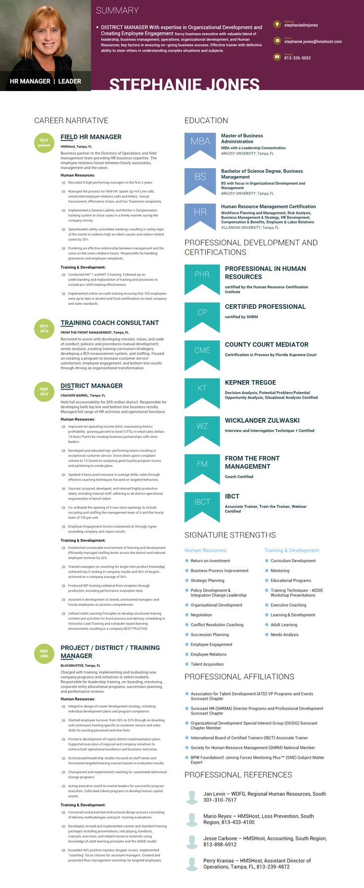 Infographic resume of STEPHANIE JONES HR MANAGER With expertise in Organizational Development