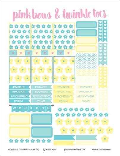 Free Erin Condren LifePlanner sticker printable - Fresh Floral theme - vertical planner printable