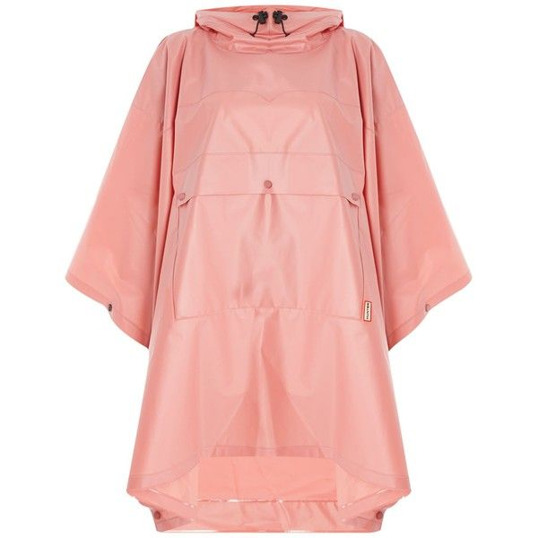 Hunter Matte vinyl poncho with front pocket ($90) ❤ liked on Polyvore featuring outerwear, jackets, coats & jackets, clearance, pink, pink poncho, pink cape, poncho cape, waterproof poncho and cape coat