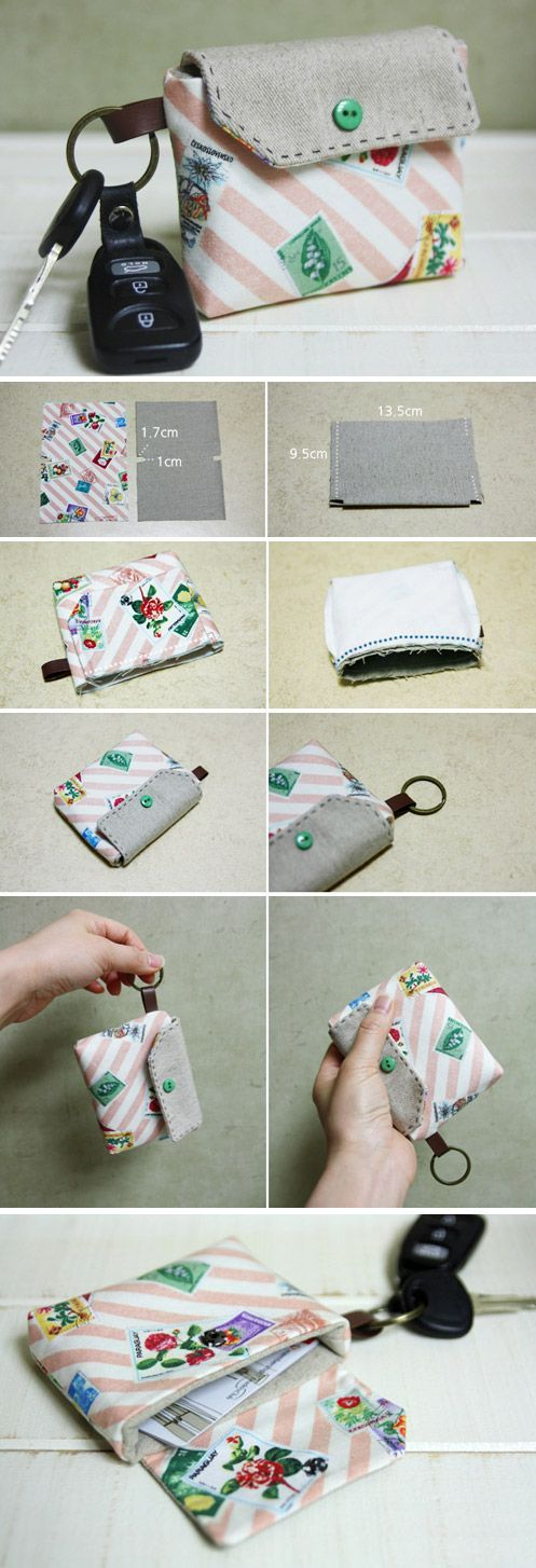 Card Wallet Key Chain Tutorial. DIY step-by-step in Pictures.  http://www.handmadiya.com/2015/11/card-holder-key-chain-tutorial.html
