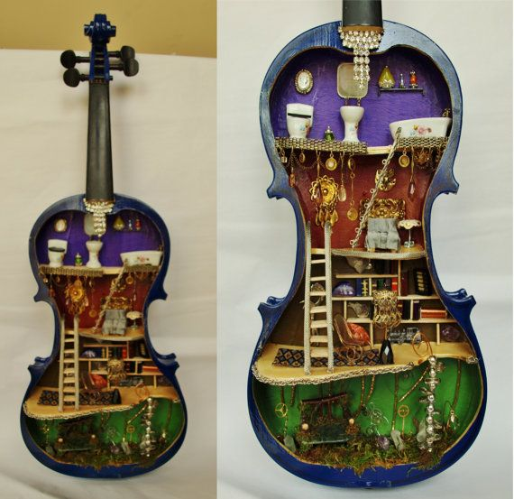 Steampunk Dollhouse Fairy House In Violin Miniature OOAK On Sale