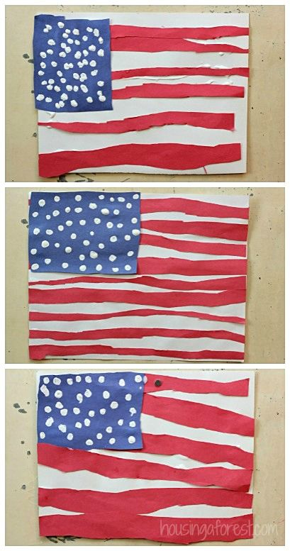 Hier kunnen we natuurlijk ook een Nederlandse variant van maken met rood, wit en blauw met eventueel ook nog een oranje lintje erbij!!!    Patriotic crafts for kids ~ American Flag Craft for Kids - Great for a 4th of July or Memorial day art project!