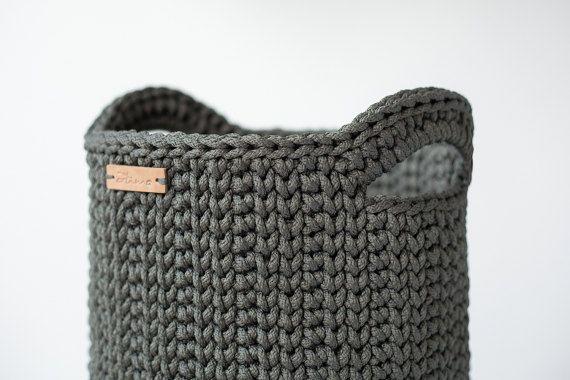 Crochet grande cesta/Crochet canasta con manijas o juguetes
