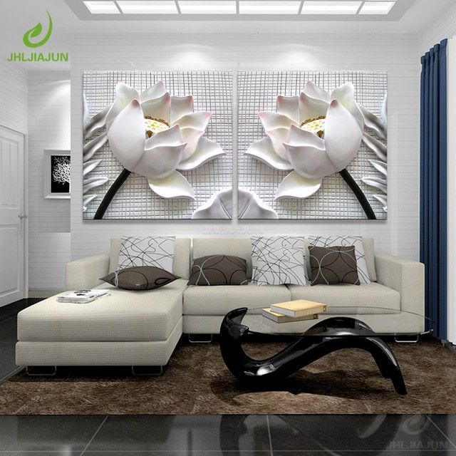 Modular Pictures 3d Art Flower Lotus Poster Wall Art Modular Paintings For Kitchen Wall Pictur Living Room Canvas Painting Living Room Canvas Canvas Wall Decor