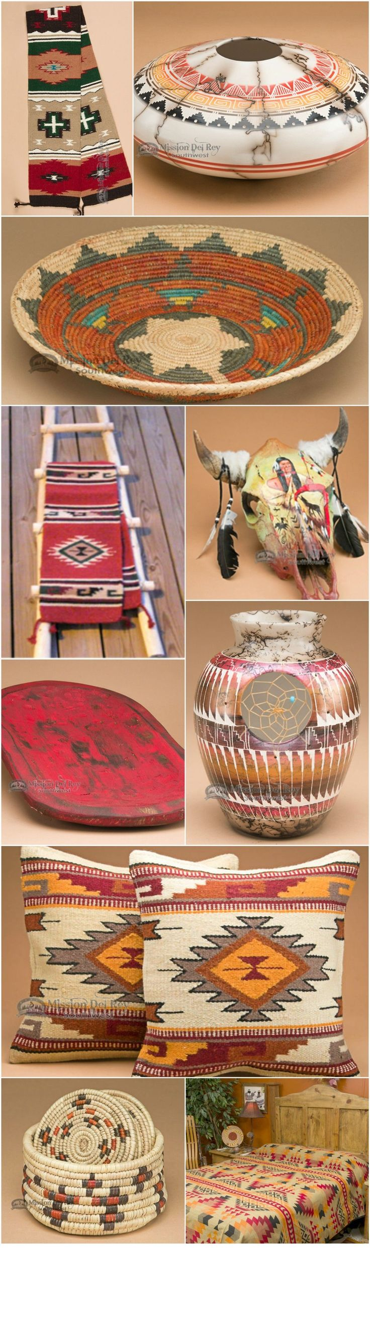Southwest decor is a very popular style of home decorating.  The beautiful colors and designs of southwest style are an easy way to give your home a rustic look.  If you like southwestern style decor, you will love our southwestern rugs, Native American pottery, rustic Kiva ladders and southwest and western bedding.  See our entire collection of southwest decor at http://www.missiondelrey.com/.