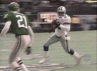 Deion Sanders  Deion Sanders runs 21 yards for a TD yesterday against the Eagles! Score was 30-11 sending them to the NFC Championship NFL