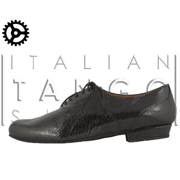 """classico marisposo"" tango shoes for man in black Leather, crack effect at only 132 € for those who register on  www.italiantangoshoes.com"
