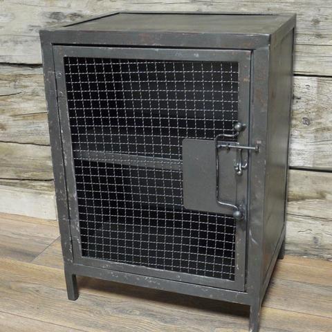 Industrial Black Metal Bedside Cabinet   farthing