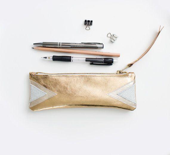 Gold Leder Bleistift, metallisches Gold Pen Pouch, goldfarbenem Leder Kosmetiktasche, metallisches Gold Mini Beutel Gold Leder Fall
