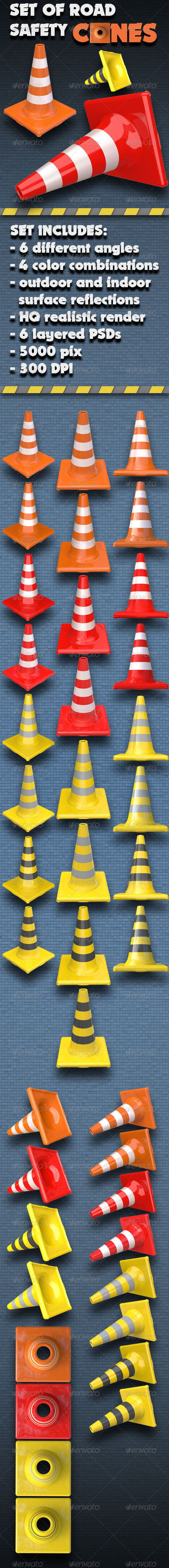 Set of Road Traffic Safety Cones