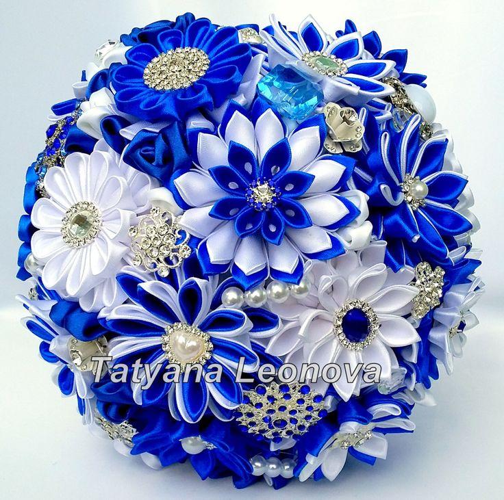 Tela boda ramo ramo de broche azul aciano blanco 9 por LIKKO