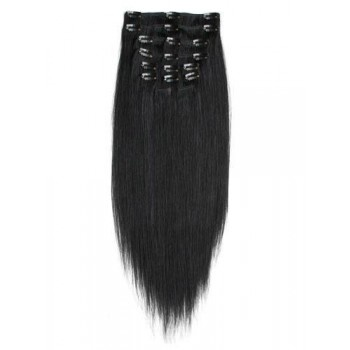 20 inches Jet Black(#1) 7 pieces Clip In Human Hair Extension