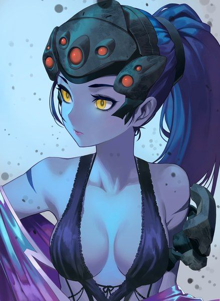 Anime picture 798x1090 with  overwatch widowmaker (overwatch) salmon88 long hair single tall image light erotic breasts simple background blue hair yellow eyes looking away ponytail cleavage tattoo lipstick upper body undressing eyeshadow makeup