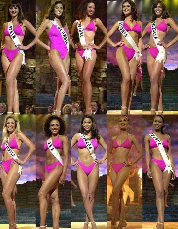 Miss Venezuela Srta Claudia Moreno, en el Top 10, luego de la presentación en Traje de Baño, en el Certamen de Miss Universe 2000...