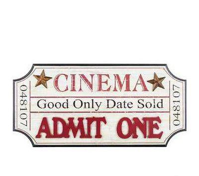 Cream & Red Cinema Ticket-Shaped Wall Decor