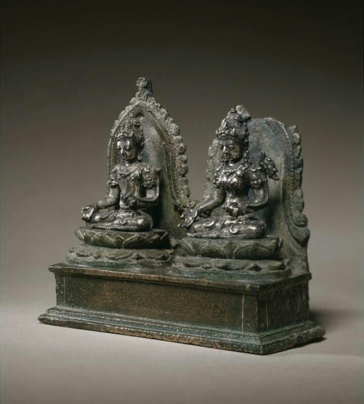 The Buddhist deities Avalokiteshvara and Vasundhara Place of Origin: Indonesia, Java Date: approx. 850-950 Materials: Silver and bronze Dimensions: H. 4 3/4 in x W. 5 1/2 in x D. 2 in, H. 12.1 cm x W. 14 cm x D. 5.1 cm