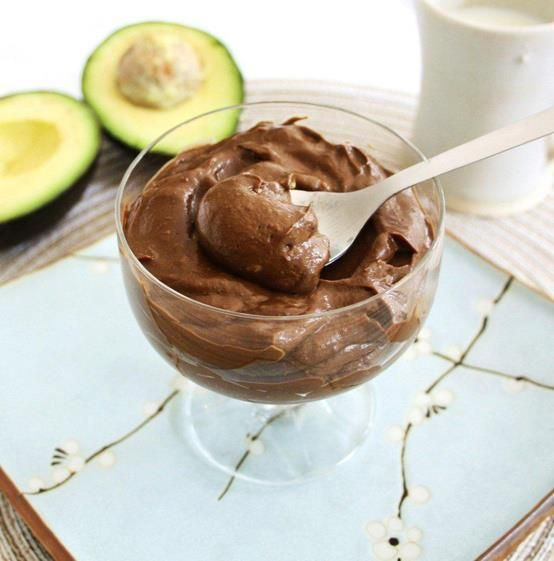 Chocolate Avocado Pudding: 1 + 1/2 ripe avocado, peeled and flesh removed from pit1/3 cup quality cocoa powder (100% pure cacao)1/3 cup pure maple syrup or honey  1/4 cup coconut milk2 tsp vanilla essence——————Makes approximately two half-cup servings or four quarter-cup servings.Directions:Place all ingredients in a blender and press GO.Blend until all ingredients are well combined and a creamy, consistent texture is achieved.You can serve this pudding straight